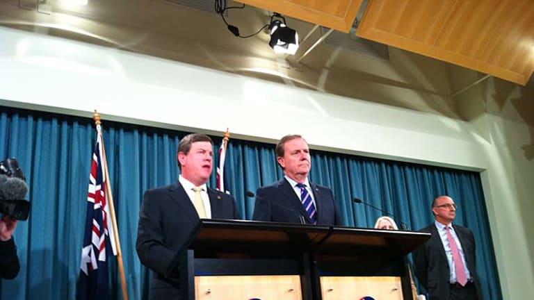Queensland Treasurer Tim Nicholls and former federal treasurer Peter Costello reveal the Commission of Audit's interim report into Queensland's finances.