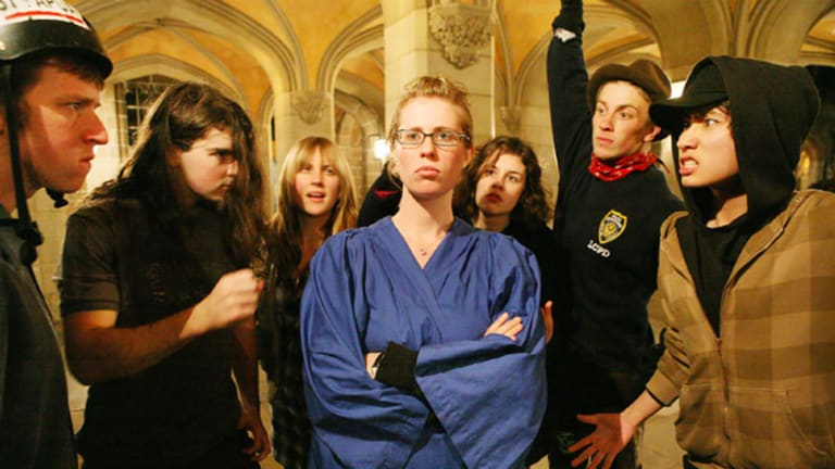 A rehearsal scene of a student rally from  Melbourne Model: The Musical , the last production for the 15-year-old creative arts group Crunch.
