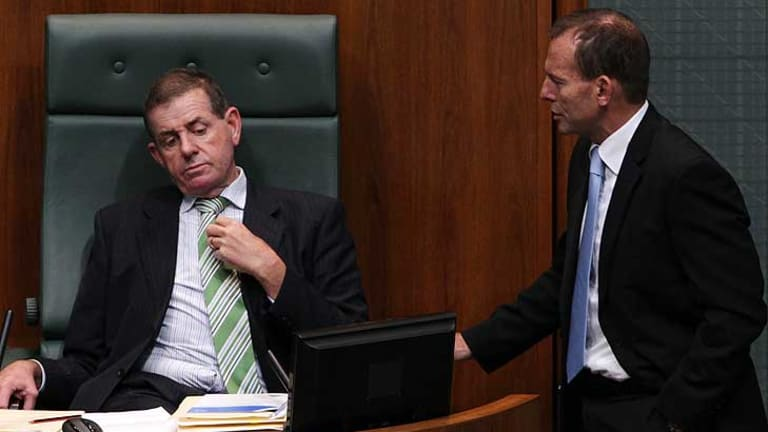 Questions, questions ... Peter Slipper  and Tony Abbott in parliament this week.