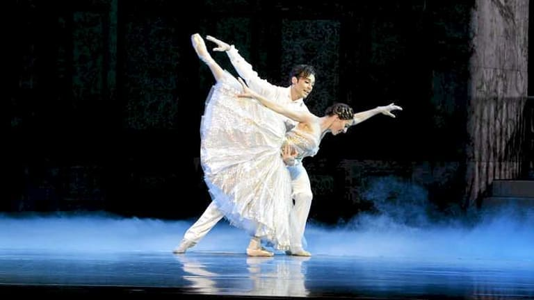 If the shoe fits: Leanne Stojmenov as Cinderella and Daniel Gaudiello as the prince.