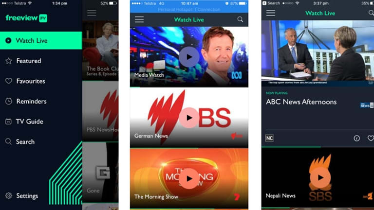 The iPhone Freeview FV app lets you scroll down through the available channels and tap play, with the option to watch full screen in portrait or landscape mode.