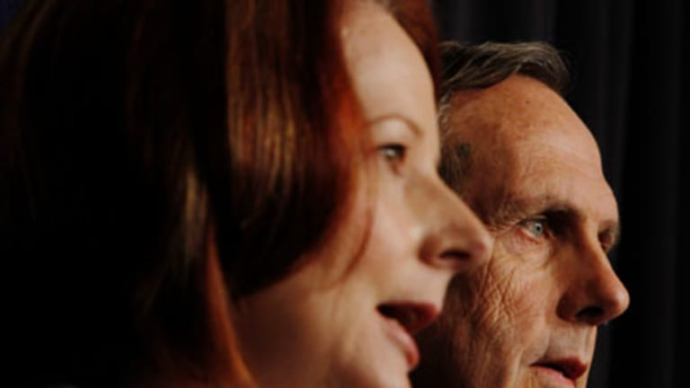 Greener pastures ... the Prime Minister, Julia Gillard, and Greens leader, Bob Brown, at a news conference yesterday.