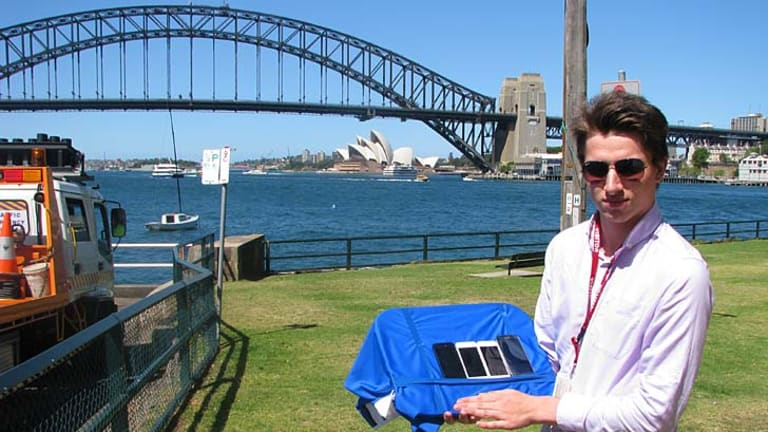Ben Grubb, seen conducting speeds tests at Blues Point Reserve in Sydney.