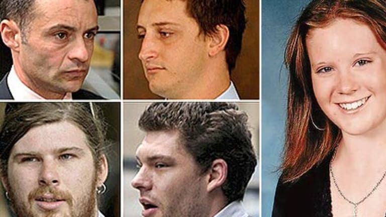 Brodie Panlock, right, and the men convicted and fined for their relentless bullying, clockwise from top left: Marc Luis Da Cruz, Nicholas Smallwood, Rhys MacAlpine and Gabriel Toomey.