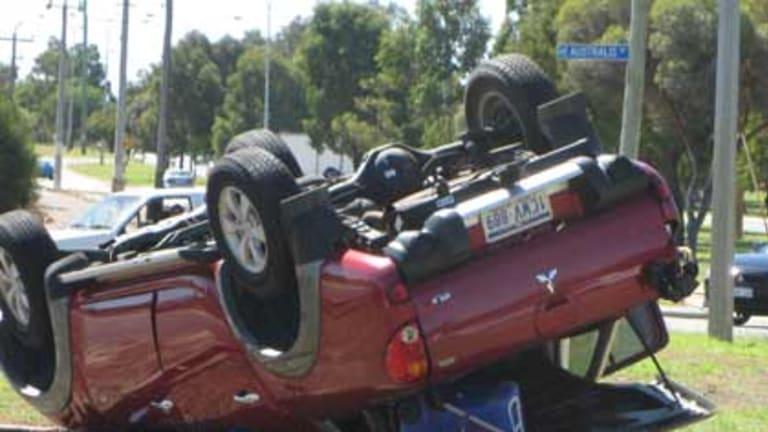 An assailant crashes this Mitsubishi Triton, ending a two-hour police chase in Perth. <i>Photo: Joseph Sapienza.</i>