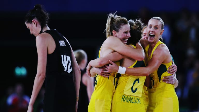 Diamonds celebrating their Commonwealth Games gold medal last year.