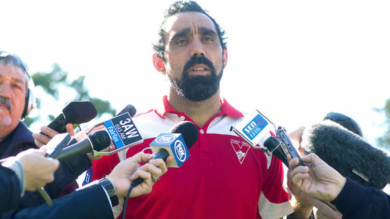 Soldier for inclusion: Adam Goodes in Melbourne on Saturday talks at a news conference called to address the racial slur delivered by a 13-year-old girl.