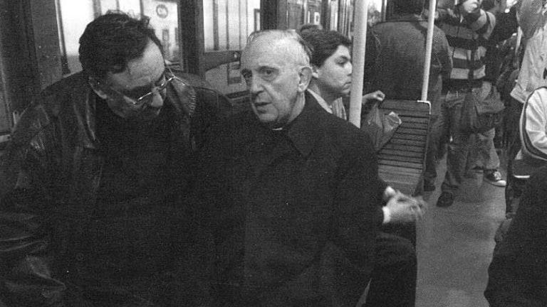 No frills: Cardinal Jorge Mario Bergoglio riding the Buenos Aires subway.