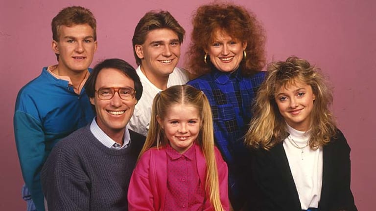 """It would be nice if Channel Seven stood up and said ""we did the wrong thing"""": Sarah Monahan seen here as a child star with the cast from <em>Hey Dad!</em>. She's on Robert Hughes' right."