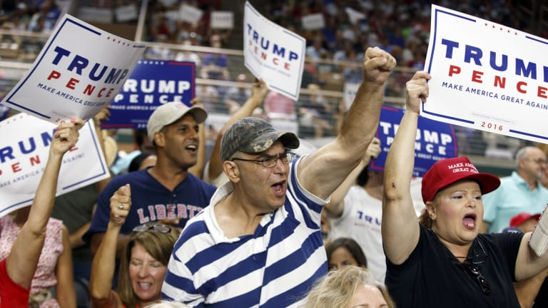 Donald Trump pitches his speeches straight to the core of his supporters - middle-aged white men.