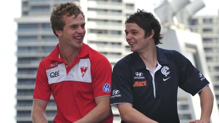 Father-son picks ... Sydney's Tom Mitchell and Carlton's Dylan Buckley.