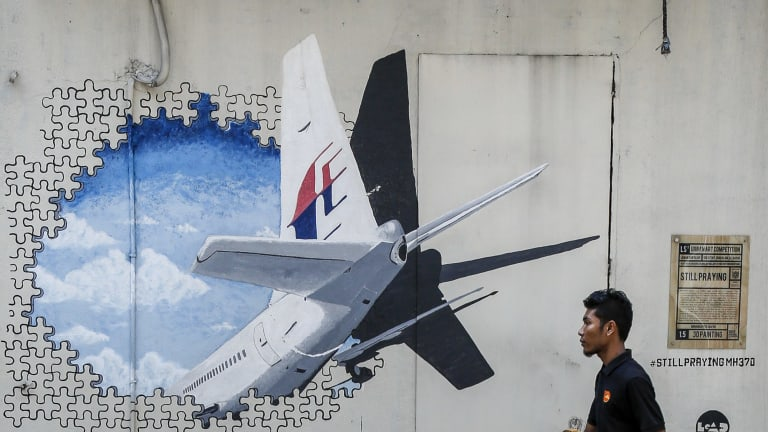 A mural of flight MH370 in Shah Alam, outside Kuala Lumpur, Malaysia.