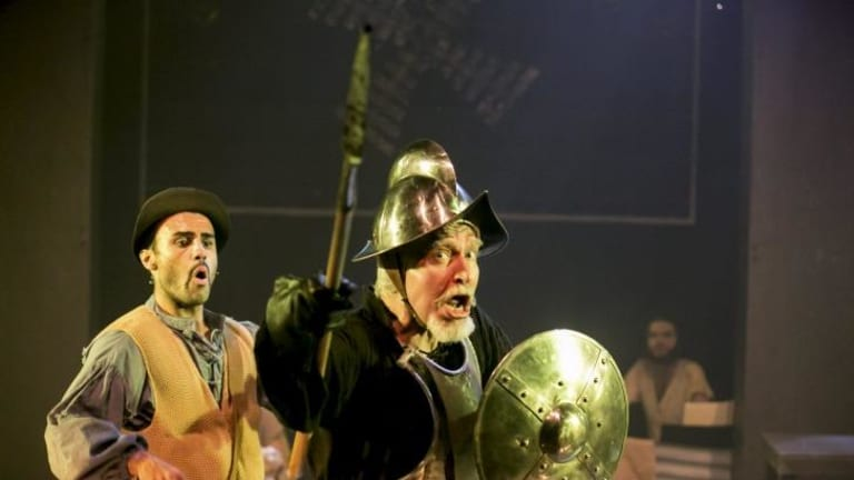 Wingmen and windmills: Ross Chisari and Tony Sheldon in Man of La Mancha.
