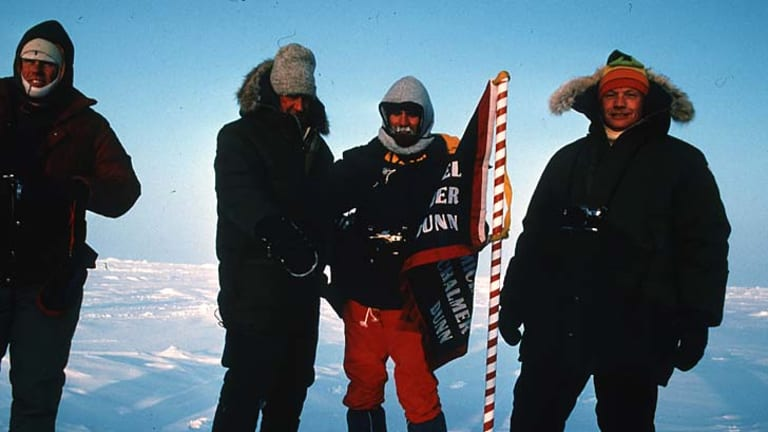 """The First Men's Club ... from left, Peter Hillary, Sir Edmund Hillary, Mike Dunn and Neil Armstrong at the North Pole. """"You are virtually in outer space out there,"""" Hillary said."""
