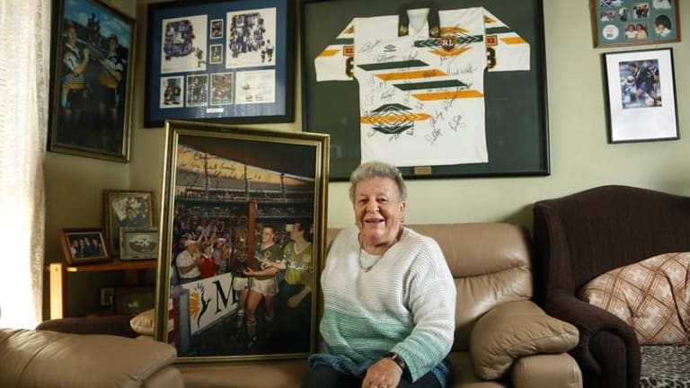 PROUD: Judy Lazarus at home in Queanbeyan with some memorabilia of her son's rugby league exploits.