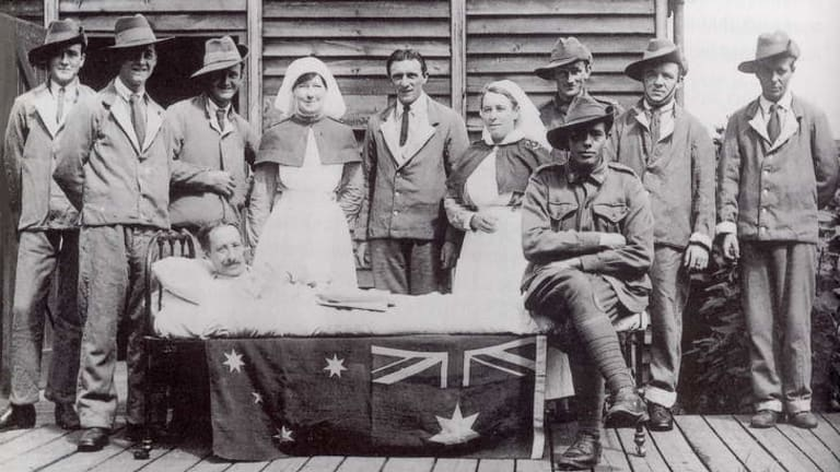 Defiant diary: Sister Hilda Samsing (centre, on left) risked court-martial with her record of events at Anzac Cove.