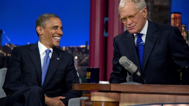 Barack Obama chats with David Letterman in a 2012 show.