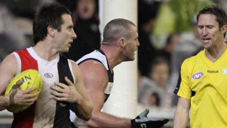 A late free kick came in handy for St Kilda's Stephen Milne.