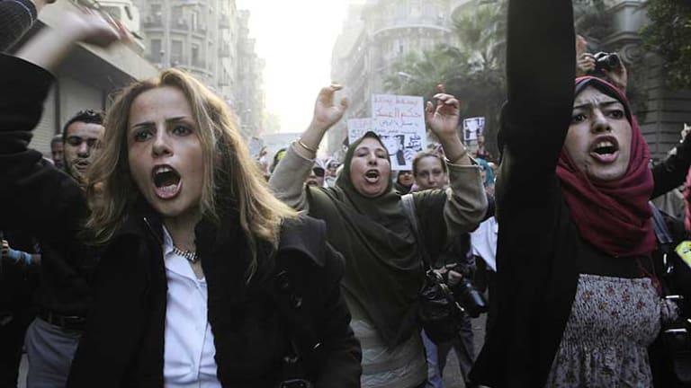 Women protest in Cairo after the police brutality.