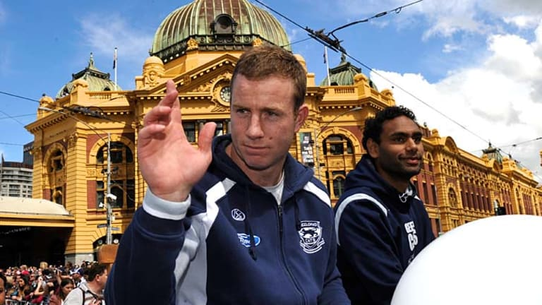 Geelong's Stevie Johnson and Travis Varcoe during the rgand final parade.