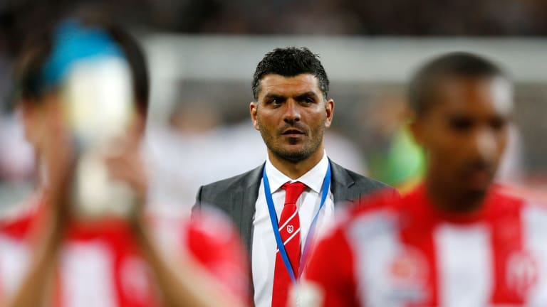 Learning on the job: John Aloisi during his time as coach of the Melbourne Heart.