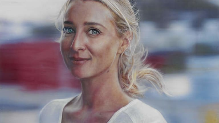 Vincent Fantauzzo's portrait of Asher Keddie, titled <i>Love Face</i>. It won the People's Choice Award for last year's Archibald Prize.