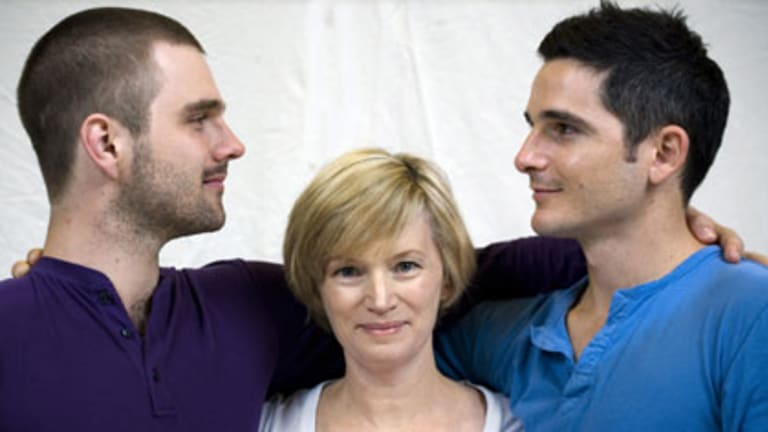 Guy Edmonds, Jane Turner and Matt Zeremes prepare for the London premier of Holding the Man.