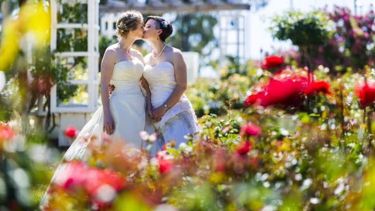 Wedding hitch: Tanya and Shar McKinlay were married before the law was struck down.