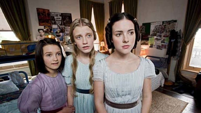 Lady cadavers ... (from left) Alex Coppinger, Poppy Lee Friar and Melissa Howard are spectre sisters in <i>Dead Gorgeous</i>.