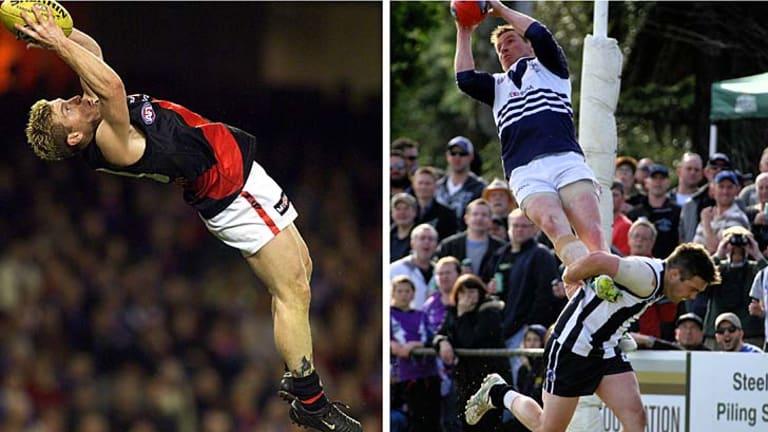 Gary Moorcroft soaring for Essendon, in 2001, and Bundoora, in 2013.
