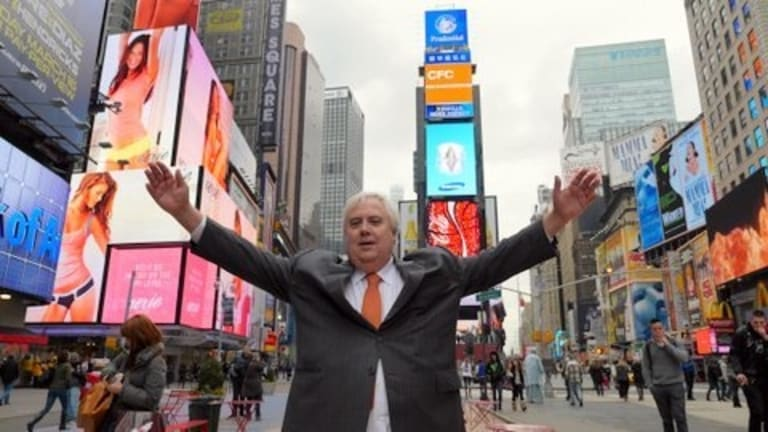 Clive Palmer in New York's Times Square in February 2013.