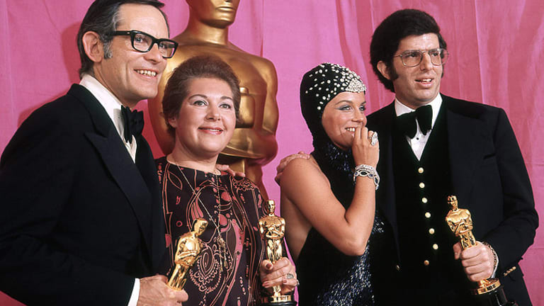 Hamlisch (right) after winning the Oscar in 1974 for Best Original Song for <i>The Way We Were</i>.