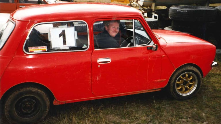 Adrian Bayley in his red Mini.