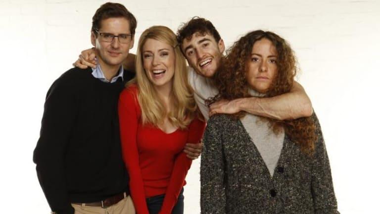 Simon Cornfield, Anna Burgess, Matt Whitty and Maria Angelico in <i>Bad Jews</i>.