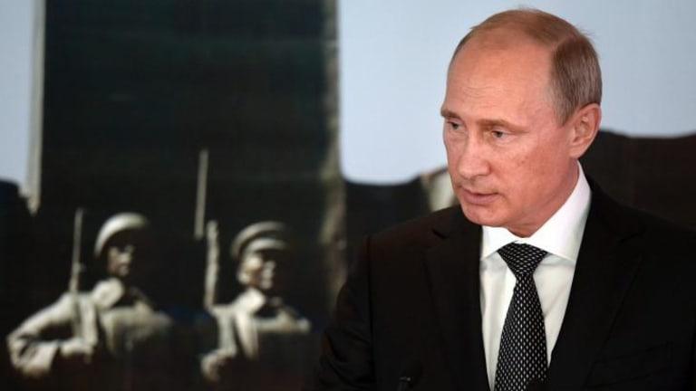 Russian President Vladimir Putin speaks at a ceremony marking the 75th anniversary of the battle of Khalkhin Gol in Ulan Bator, Mongolia.