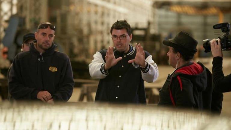 John V. Soto, centre, directs a scene in the Australian crime thriller <i>The Reckoning</i>.