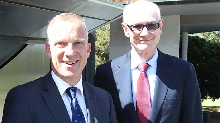 $20 million donation ... engineering services magnate John Grill, right, with Michael Spence.