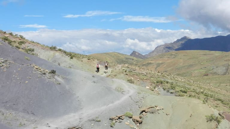 Hikers visit the Crater of Maragua, in eastern Bolivia.