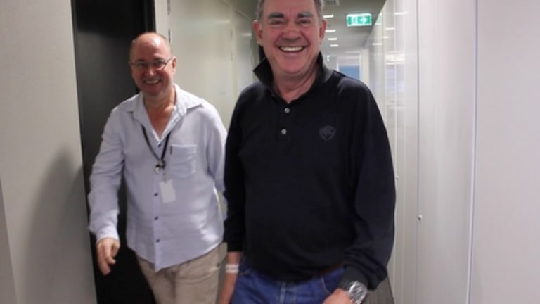 3AW's Ross Stevenson, left, and John Burns were named best on-air AM team for the fourth time.