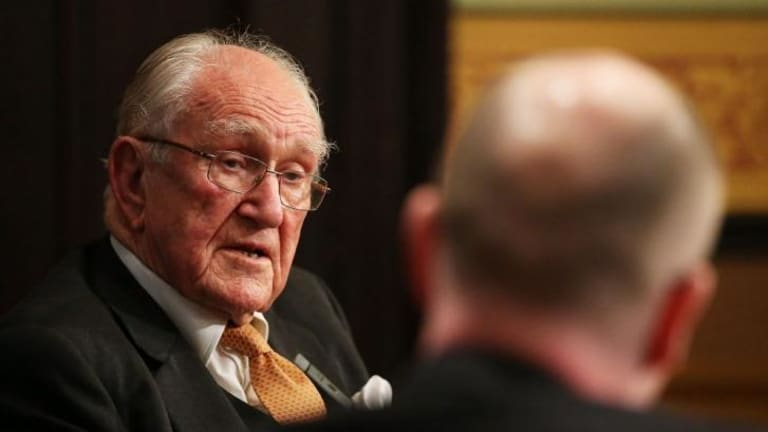 Malcolm Fraser addresses the Lowy Institute on Wednesday.