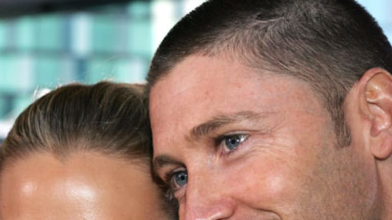Reportedly split ... Michael Clarke with Lara Bingle.