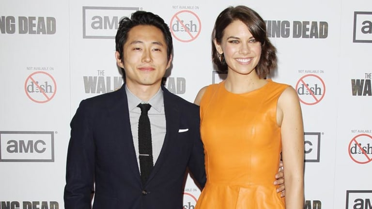 Steven Yeun and Lauren Cohan attend the AMC's 'The Walking Dead' Season 3 Premiere.