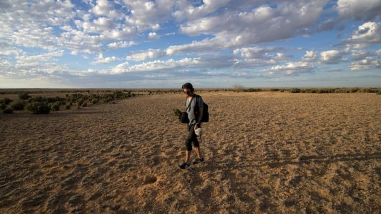 Artist Daniel Browning, Unmapping the End of the World, sound recording at Mungo National Park, Australia, 2015.
