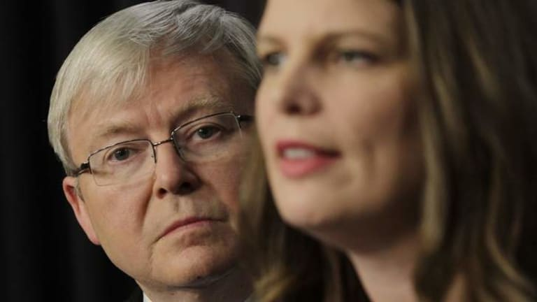 Prime Minister Kevin Rudd announces funding for before and after school care with the Minister for Early Childhood, Childcare and Youth Kate Ellis.