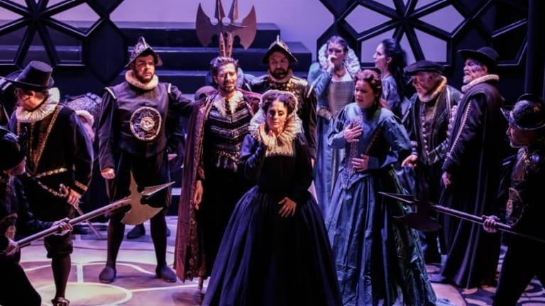Elena Xanthoudakis (centre) and the cast of Melbourne Opera's Maria Stuarda.