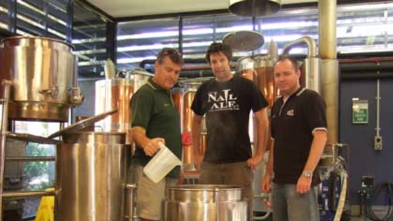Brewing up beers with a difference...Nail Brewery's John Stallwood (centre).
