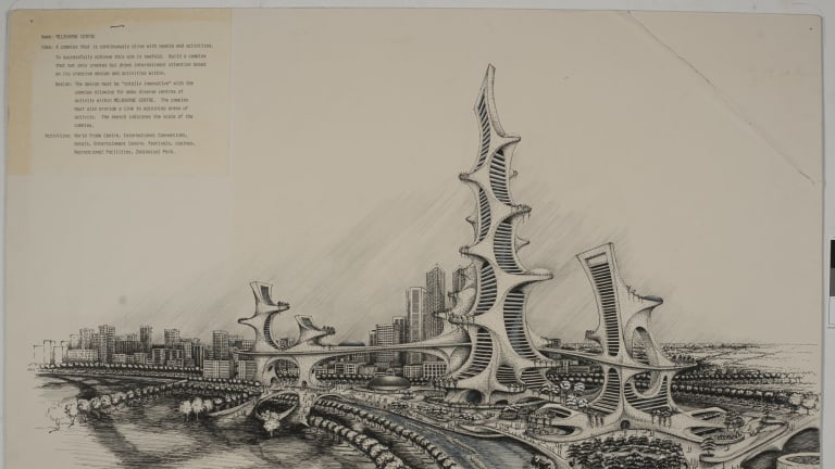 SONY DSC Age News Clay Lucas story 11/5/2016 A history of future images of Melbourne. Supplied artists impressions. Future Melbourne, 12 Melbourne Centre, 1978, designed by Kenneth John Tuskes, AIA, architect, Ohio, USA, Public Record Office Victoria