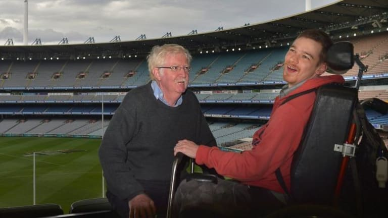 Brendan McCarthy and his father Bernard at the MCG.