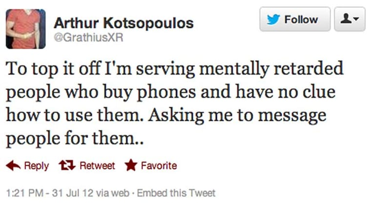 One of the tweets Kotsopoulos posted yesterday.