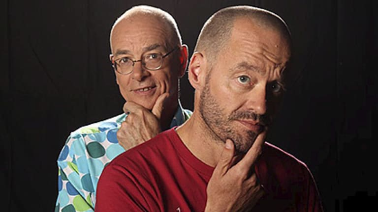 Hosts (from left) Karl Kruszelnicki  and Adam Spencer tackle chin-strokers on Sleek Geeks.